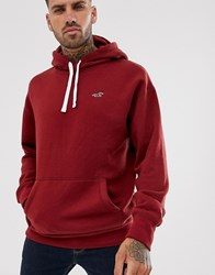 Hollister Core Icon Logo Hoodie In Burgundy Red