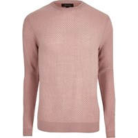 River Island Mens Pink Textured Knit Slim Fit Jumper