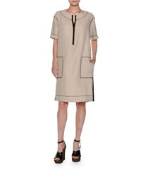 Agnona Short Sleeve Half Zip Linen Dress Beige