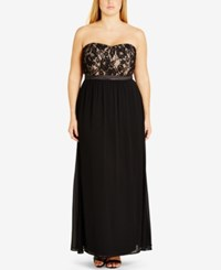 City Chic Plus Size Strapless Empire Waist Gown Dress Black