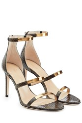 Tamara Mellon Embossed Leather Sandals With Metallic Straps Green