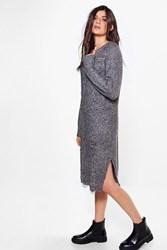 Boohoo Niamh Oversized Cable Knit Jumper Dress Grey