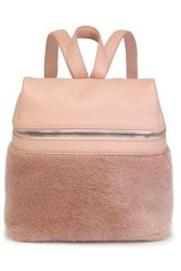 Kara Woman Textured Leather And Shearling Backpack Blush