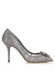 Dolce And Gabbana Belluci Crystal Embellished Lace Pumps Grey