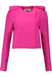 Marni Cropped Wool Blend Felt Jacket Fuchsia
