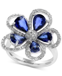 Effy Final Call Diffused Ceylon Sapphire 3 1 10 Ct. T.W. And Diamond 3 8 Ct. T.W. Flower Ring In 14K White Gold Blue