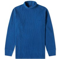 Blue Blue Japan Long Sleeve Hand Dyed Turtle Neck Tee Blue