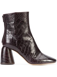 Ellery Crocodile Effect Boots Red