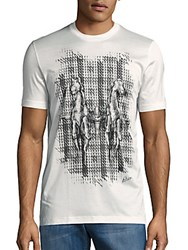 Brioni Cotton And Silk Horse Graphic Tee Black Grey