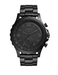 Fossil Q Nate Black Tone Stainless Steel Bracelet Hybrid Smartwatch