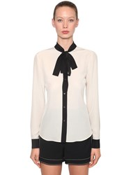 Red Valentino Contrasting Bow Silk Crepe Blouse Ivory Black