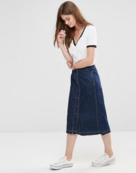 Only Button Through Midi A Line Denim Skirt Dark Blue Denim