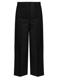 Vince Wide Leg Cropped Cotton Sateen Trousers Black