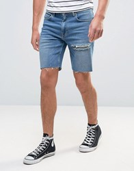 Asos Denim Shorts In Slim Mid Blue With Thigh Rip Mid Wash Vintage