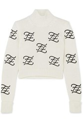 Fendi Cropped Embroidered Wool And Cashmere Blend Turtleneck Sweater Ivory