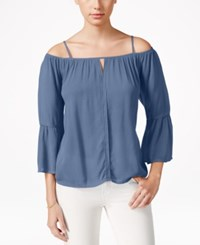 Stoosh Juniors' Off The Shoulder Peasant Blouse Chambray