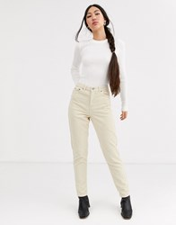 Topshop Cord Mom Jeans In Stone Cream