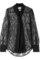 Equipment Luis Pussy Bow Silk Trimmed Lace Blouse Black