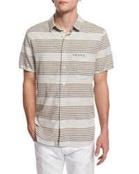 7 For All Mankind Horizontal Stripe Short Sleeve Shirt Natural
