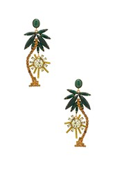 Elizabeth Cole Palm Tree Earrings Metallic Gold