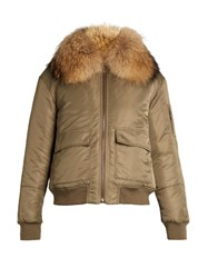 Yves Salomon Fur Lined Nylon Bomber Jacket Khaki