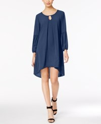 Ny Collection Folded High Low Peasant Dress Twilight Navy