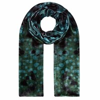 Klements Long Velvet Scarf In Seaweed Print Green