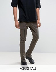 Asos Tall Super Skinny Fit Trousers With Zip Cargo Pockets In Khaki Forest Night Green