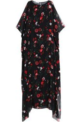 Oscar De La Renta Floral Print Draped Silk Blend Chiffon Maxi Dress Black
