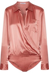 Alexander Wang T By Wrap Effect Silk Charmeuse Bodysuit Antique Rose