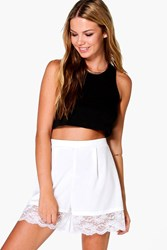 Boohoo Lace Trim Shorts Ivory
