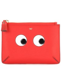 Anya Hindmarch Loose Pocket Small Printed Leather Pouch Red