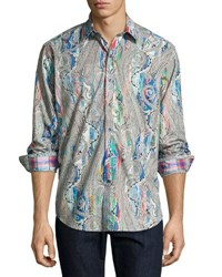 Robert Graham June Gloom Paisley Woven Shirt Blue