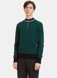 Ami Alexandre Mattiussi Striped Rib Zip Up Knit Sweater Green