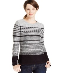 Karen Scott Petite Striped Crew Neck Sweater Only At Macy's Deep Black