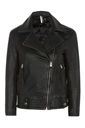 Topshop Goddess Hand Painted Leather Biker Black