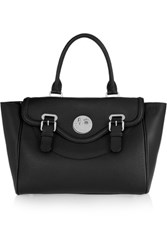 Hill And Friends Happy Satchel Textured Leather Tote Black