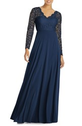 Dessy Collection Long Sleeve Lace And Chiffon Gown Midnight