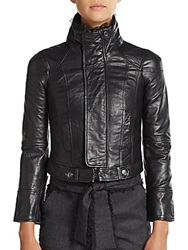 Red Valentino Lace Trimmed Leather Moto Jacket Charcoal