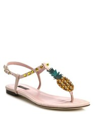 Dolce And Gabbana Pineapple Suede Thong Sandals Light Pink