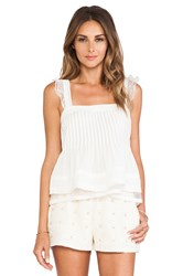 J.O.A. Ruffled Sleeveless Top Ivory