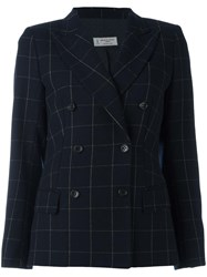 Alberto Biani Checkered Double Breasted Blazer Blue