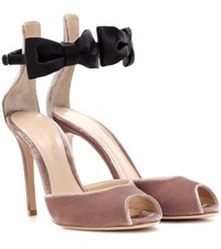 Gianvito Rossi Exclusive To Mytheresa.Com Velvet And Satin Sandals Neutrals