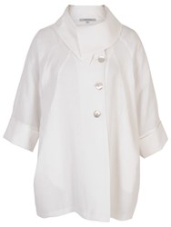 Chesca Linen Large Collar Coat White