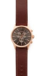 Nixon The Sentry Chronograph Leather Watch Rose Gold Gunmetal