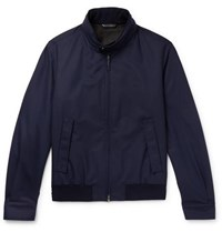 Brioni Barracuta Wool Bomber Jacket Navy