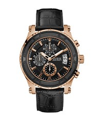 Guess Pinnacle Stainless Steel And Crocodile Leather Strap Chronograph Watch Black