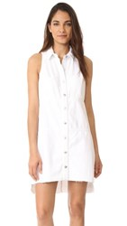 7 For All Mankind Sleeveless Dress With Step Hem Luxe Lounge White