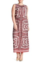 London Times Paisley Medallion Blouson Maxi Dress Plus Size Red