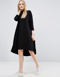 Asos Polo Neck Oversize Slouch Dress Black